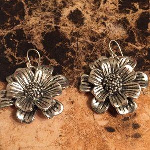 Unique Silver Flower Earrings